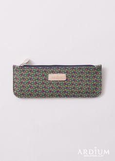 Pattern Slim Pencil Case_navy berry