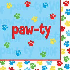 Our Paw-ty Time Luncheon Napkins shows off red, green, yellow and blue paw prints on this blue and white napkin.