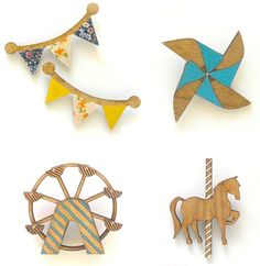 Cute little wooden brooches