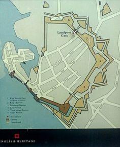 Portsmouth area map on street information board  Public maps in