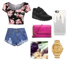 """""""Going with bae"""" by bryebear ❤ liked on Polyvore featuring NIKE, MICHAEL Michael Kors, Casetify and Versace"""