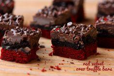 Red Velvet Oreo Truffle Brownie Bars.