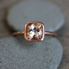 Morganite Ring in 14k Rose Gold Ring, Cushion Cut  and Highly Polished. $778.00, via Etsy.