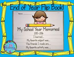 """End of Year Flip Book Writing:  Enjoy making  """"My School Year Memories"""" Flip book with your children!Included:5 page My School Year Memories printables to make end of year flip book!Just print and cut along indicated lines.Staple at the top and go!Have the children write and draw the following:Cover:  My School Year Memories! (Boy and Girl illustration for cover)  (One with date and one without date)"""
