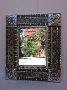 PUNCHED TIN MIRROR handmade mexican folk art by CatrinaSanMiguel, $70.00