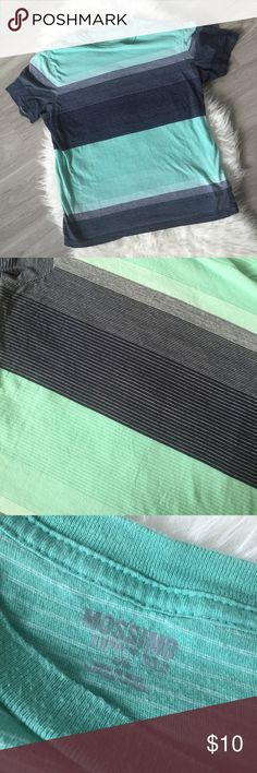 Men's Mossimo Striped Teal Blue Tee Large Size Large. Normal used condition, no rips or stains!  Pit to pit: 20 in flat Shoulder to Shoulder: 18in flat Length: 27 in flat Mossimo Supply Co Shirts Tees - Short Sleeve