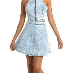 Charlotte Russe Chambray Acid Wash Denim Chambray Skater Skirt by... ($23) ❤ liked on Polyvore