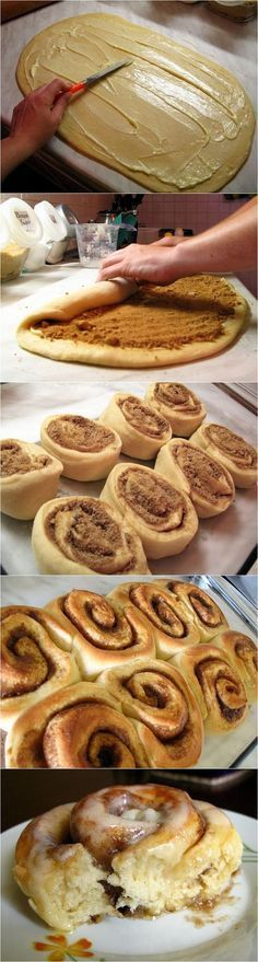 Easy Cinnamon Rolls - I love this recipe. I have done this with my son. The best way to cut them once it's rolled is to use some thread and cross it over to break so you don't dent the dough.