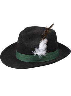 Sombrero negro de bávaro con pluma para hombre y para mujer aae26b979ea