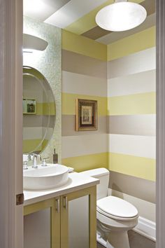 different colors but love the stripes for a powder room. contemporary powder room by Shelley Kirsch Interior Design and Decoration Decor, Painting Stripes On Walls, Modern Powder Rooms, Yellow Bathrooms, Striped Walls, Bathrooms Remodel, Powder Room Design, Home Decor, Bathroom Design