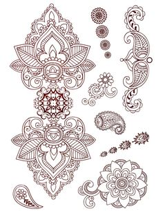 Classic Indian Henna Temporary Tattoo Gold Silver Festival Beach ...
