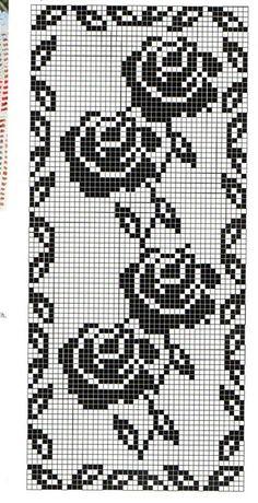 Roastbeef rubato Four Roses Filet Crochet Charts, Crochet Cross, Crochet Diagram, Knitting Charts, Crochet Motif, Crochet Stitches, Crochet Doilies, Cross Stitch Pattern Maker, Cross Stitch Patterns