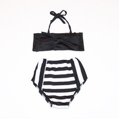 f62ee30d2ff Retro Style Classic Black Bow Top & Striped Vintage High Waist Bikini! Kids  Swimwear! from Koala-T Fashion