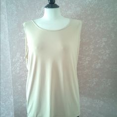 "2X Sleeveless Top Beige Plus Size 2X Sleeveless Beige Top Shell Plus Size by A Touch Of Class 44"" Bust 24"" Length Side Slits Acetate Spandex Made in USA eUC Trades A Touch of Class Tops Tunics"