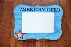 Blue American Hero Shabby Chic Rustic Tabletop Frame by OhSoFooFoo, $16.00