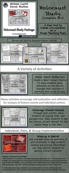 Use this Holocaust Study Package to teach the Holocaust to your Social Studies or Language Arts class. Includes: Overview Powerpoint Lecture on the History, of the Holocaust, Terms Activity, People Investigation Activity, Who Am I Activity, Timeline Introduction Activity with a number of implementation options, Propaganda Analysis Activity, Journal Prompts Set, Night Reading Guide, And more! All student materials and teacher directions included!