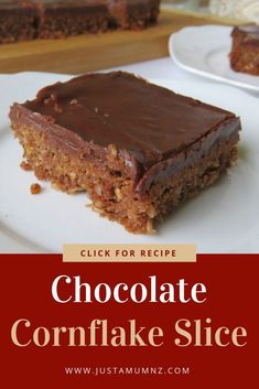 Delicious and Easy Chocolate Cornflake Coconut Slice Delicious Chocolate Cornflake Slice, this is a great easy recipe. Have you made weetbix slice before, just like that. A great alternative. Tray Bake Recipes, Cereal Recipes, Baking Recipes, Cake Recipes, Dessert Recipes, Coconut Recipes, Chocolate Slice, Delicious Chocolate, Chocolate Recipes