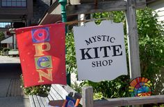 Located in Olde Mistick Village, Mystic Kite Shop is chock full of kites, chimes, banners, and flags. There are plenty from which to choose.