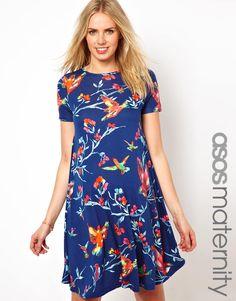ASOS Maternity Exclusive Swing Dress in Bird Print