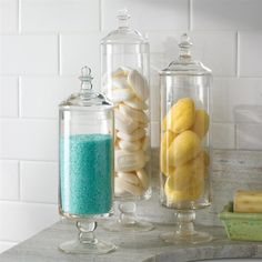 Bathroom jars design inc contemporary glass containers with lids Apothecary Jars Bathroom, Bathroom Jars, Bathroom Spa, Diy Bathroom Decor, Bathroom Interior, Bathroom Storage, Bathroom Ideas, Glass Containers With Lids, Glass Jars