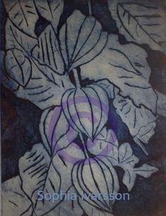 Denna tavla är ett tryck, jag har målat av japansk lykt - en växt/blomma. Painting, Painting Art, Paintings, Painted Canvas, Drawings
