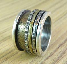 Spinner ring ,meditation spinner ring ,spinning ring ,Mix metal Spinner rings ,brass wedding ring,brass spinning ring