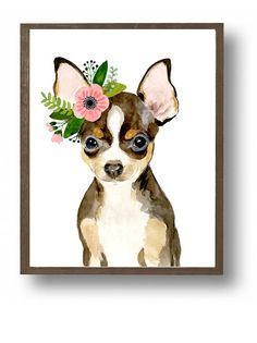 Baby animal : puppy, chihuahua This is a print of my original watercolor painting. The colors are rich and vibrant and the print looks so much better in real life. Materials: Printed on beautiful high quality, archival and acid free velvet fine art paper using professional Epson Ultra Chrome inks. Prints will be signed and dated. Size: Available in 4 sizes! (5x7, 8x10, 11x14, 13x19) Please make your selection from the drop-down menu at check out. Shipping: Each print will be shipped in ri...