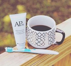 Our AP 24 Whitening Toothpaste lightens teeth without peroxide, while preventing cavities and plaque formation. The gentle, vanilla-mint formula freshens breath and provides a clean, just-brushed feeling that lasts all day. Ap 24 Whitening Toothpaste, Whitening Fluoride Toothpaste, Nu Skin, Coffee Staining, Dry Brushing, Body Care, Lifestyle, Skin Products, Beauty Products