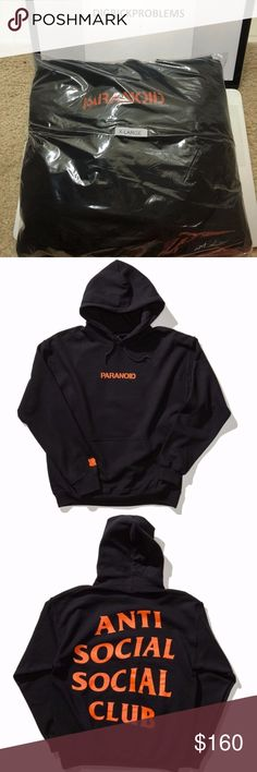 Antisocial Social Club Paranoid Hoodie Black AntiSocial Social Club x Undefeated Collaboration piece. EXTREMELY RARE. Have not taken out of packaging. Obtained in Undefeated store in LA in 2016. Message me if you have any questions. 100% AUTHENTIC OR MONEY BACK Anti Social Social Club Sweaters