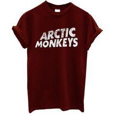 New Arctic Monkeys T-shirt Rock Band ($12) ❤ liked on Polyvore featuring tops, t-shirts, shirts, band tees, monkey shirt, t shirts, red baseball tee, red top and monkey tees