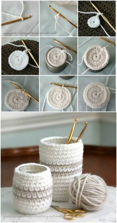 crochet easy Crochet Jar Cozies - Do you crochet? Crocheting and knitting are such wonderfully relaxing pastimes. Even if you've never held a crochet needle, there are so many wonderful things that you can create. 40 Free Crochet Stitches from Daisy Far Crochet Cozy, Crochet Gifts, Diy Crochet, Blanket Crochet, Crochet Braids, Crochet Ideas, Beginner Crochet Tutorial, Crochet Patterns For Beginners, Easy Patterns