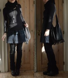 Shortcut to the stars - I love layering skirts and adding a long button-up as a coat. I also like to get small sized button-up dresses as coats.
