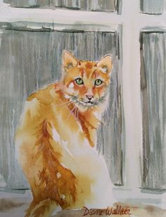 """#cat #watercolor """"Make It Stop"""" 5.5"""" X 7.5"""" $65.00. Reference photo supplied by JanRuss, Paint My Photo"""