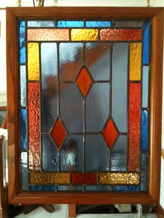 A stained glass panel basic colors and pattern~Window art