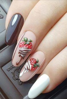 Halloween Acrylic Nails, Summer Acrylic Nails, Cute Acrylic Nails, Spring Nails, Cute Nails, Summer Nails, Watermelon Nail Designs, Fruit Nail Art, Almond Nail Art