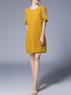 Mini Dress Shift Daytime Half Sleeve Solid Dress