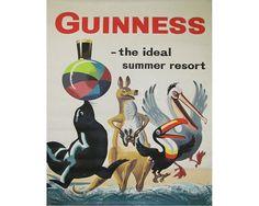 Guinness idéal villégiature Toucan Vintage publicitaire émail métal TIN signe aux plaques murales