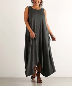 Love this Charcoal Sidetail Maxi Dress - Plus on #zulily! #zulilyfinds