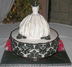 Damask Bridal Shower Cake