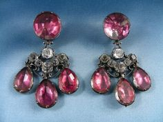 irandole earrings. Pink and white pastes, close set in silver. Probably French, early 18th century. Length: 65 mm
