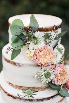 Semi-naked wedding cake idea - one-tier wedding cake with fresh flowers and greenery {Wisteria Photography}