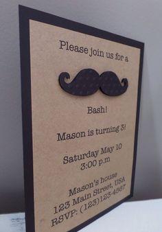 Mustache invitation, birthday baby shower, party