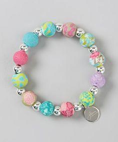 Another great find on #zulily! Pink & Blue Silver Ball Stretch Bracelet by JILZARA #zulilyfinds