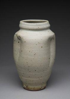 Artist: Warren MacKenzie, Title: Altered Grey Vase - click for larger image