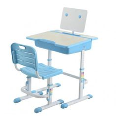 Student Study Desk Blue With Basket & Chair Hydrolic