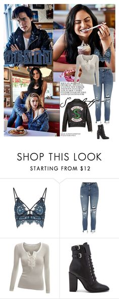 """Outfit #964 Denim ❤️"" by nmr135 ❤ liked on Polyvore featuring For Love & Lemons, River Island, Doublju, Schutz, denim, SNAKE, Serpent, riverdale and nmr"