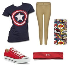 """RRW-Day2:Favorite superhero shirt"" by gretchenlover ❤ liked on Polyvore featuring Marvel, Converse, Casetify and Under Armour"