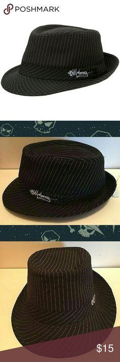 Billabong Black Pinstripe Fedora, Size: S/M + Surprise freebies with every purchase + Billabong brand black with white pinstripes permanent fedora. Graffiti style Billabong logo stitched on the left side in white thread. Unisex design can be worn by anyone. Men's size: S/M so approximately a M/L in women's sizes.  * Bundle 2 or more listings and save 15% * Billabong Accessories Hats