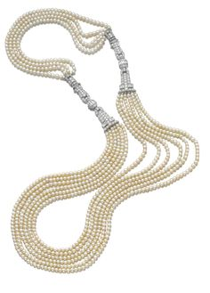 Natural pearl and diamond sautoir, one small cultured pearl, 1930s. The front designed as six rows of natural pearls highlighted at the sides with diamond links set with baguette, single- and circular-cut stones, the back composed of four rows of pearls.