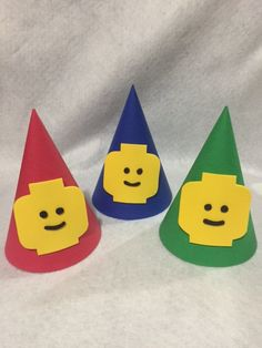 Lego PArty Hats - etsy - This listing is for 12 hats. (4 of each color) Hand made with high quality materials.